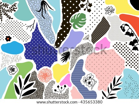 Creative geometric background with floral elements and different textures. Collage. Design for poster, card, invitation, placard, brochure, flyer. Vector - stock vector