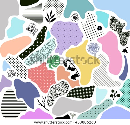 Creative geometric background with floral elements and different textures. Collage. Design for header, poster, card, invitation, placard, brochure, flyer. Vector - stock vector