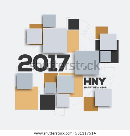 Creative geometric design for your greetings card, Happy New Year 2017. Square background for canvas print, decoration, banner, advertising, Headers, etc. Vector illustration