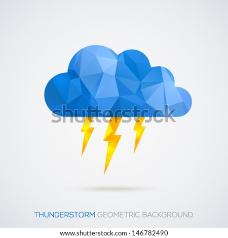 Creative geometric thunderstorm sign background. Vector illustration. - stock vector