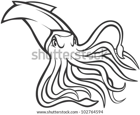 Giant squid stock images royalty free images vectors for Giant squid coloring pages