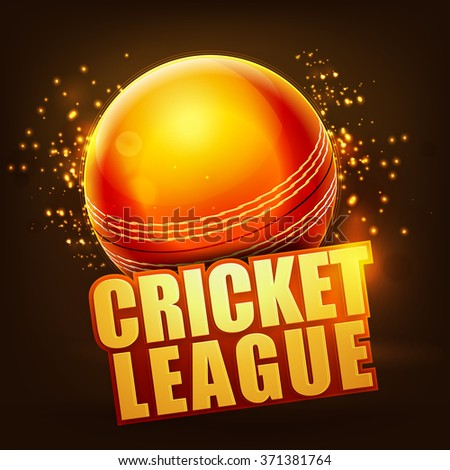 Creative glossy Ball with stylish text Cricket League on shiny brown background. - stock vector