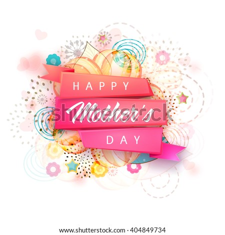 Creative glossy ribbon with stylish text Happy Mother's Day on floral design decorated background. - stock vector