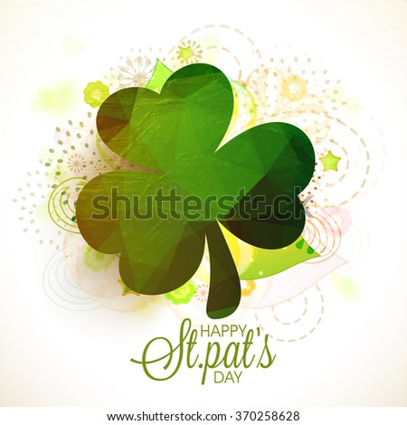 Creative glossy Shamrock Leaf on abstract background for Happy St. Patrick's Day celebration. - stock vector