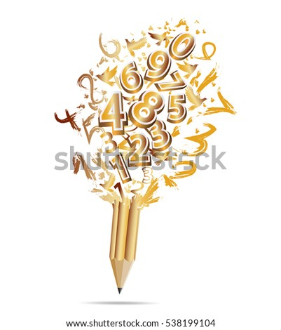 Creative gold pencil with numbers-vector