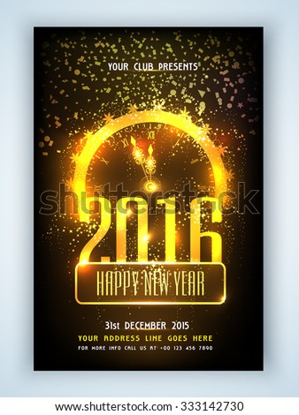 Creative golden clock showing time for Happy New Year 2016 celebration, can be used as flyer, banner or pamphlet design. - stock vector