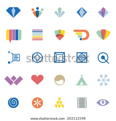 creative graphic design elements & symbols - set of different vector flat icons - stock vector