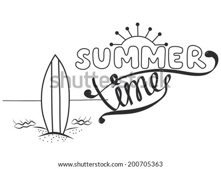 Creative Graphic Message For Travel Summer Vacation Design Hand Drawn Lettering With Surfboard On The