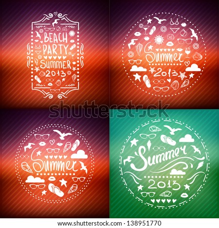 creative graphic poster SET for your design. summer emblems. Vector summer icons - stock vector