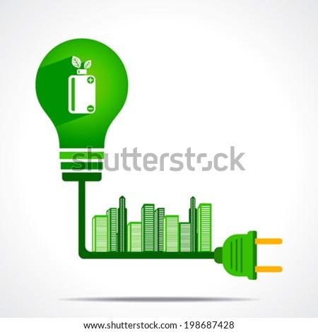 creative green battery gave power to the city concept vector - stock vector