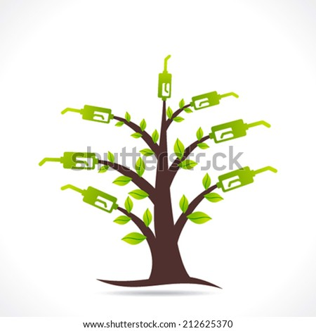 creative green fuel tree  design concept vector - stock vector