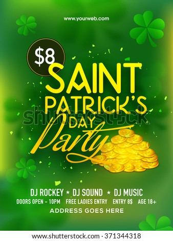 Creative green pamphlet, banner or flyer design decorated with gold coins and shamrock leaves for St. Patrick's Day Party celebration. - stock vector