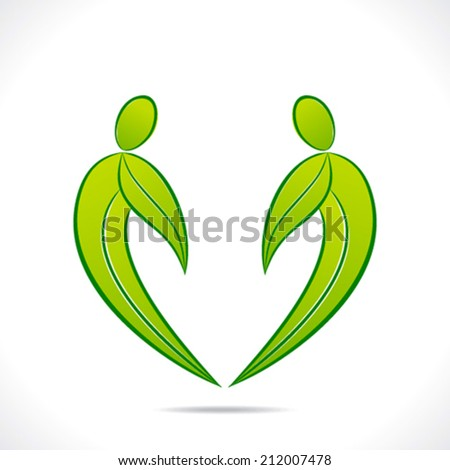 creative green people symbol design with green leaf vector - stock vector