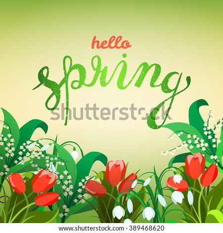 Creative green texture with leaves. Doodle circle frame with text hello spring. Vector design for spring sales, banners, advertisement. - stock vector