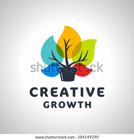 Creative Growth Original Memorable Graphic Symbol For Your Business. Growing Plant With Colorful Leaves. Attractive Unique Sign For Studio Team Service Agency etc. Vector Illustration. - stock vector