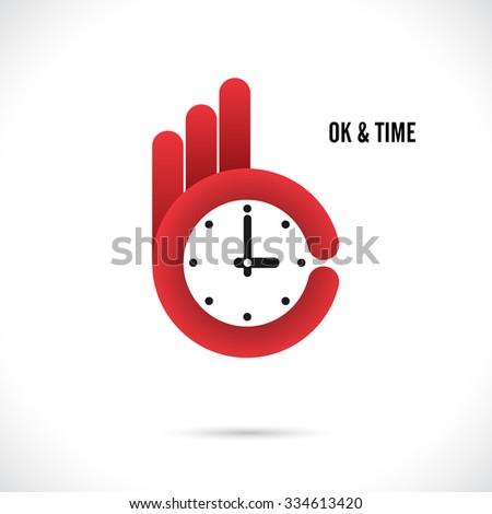 Creative hand and clock shape abstract logo design.Hand Ok symbol icon.Corporate business creative logotype symbol.Vector illustration - stock vector