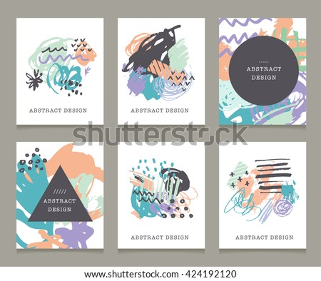 Creative hand drawn backgrounds and greeting cards. Party, birthday, wedding, mothers day invitations - stock vector