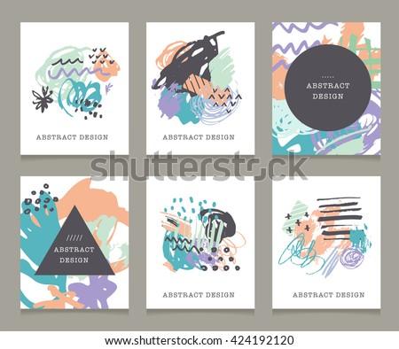 Set Artistic Creative Universal Cards Hand Stock Vector 358894610 - Shutterstock