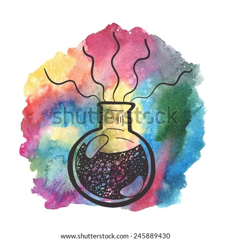 Creative hand drawn chemistry illustration. Science background. - stock vector