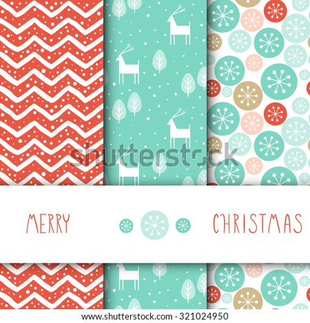 Creative Hand Drawn textures. Set of vector seamless patterns. For Christmas, wedding, birthday, anniversary, Valentine's day, party invitations. Turquoise and Pink. Snow. Chevron. Deer.  - stock vector