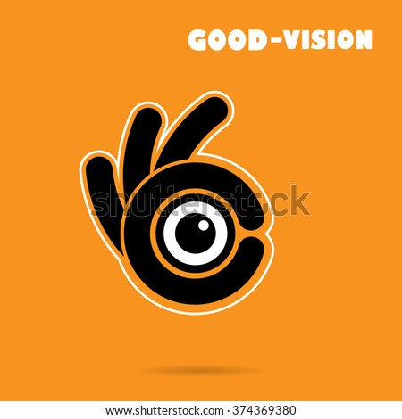 Creative hand icon abstract logo design vector template.Vision sign.Hand OK symbol icon.Corporate business and industrial creative logotype symbol.Vector illustration - stock vector