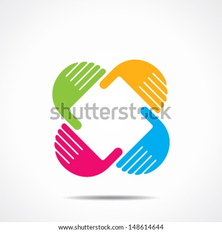 creative hand icon, arrange hand and make square shape vector  - stock vector