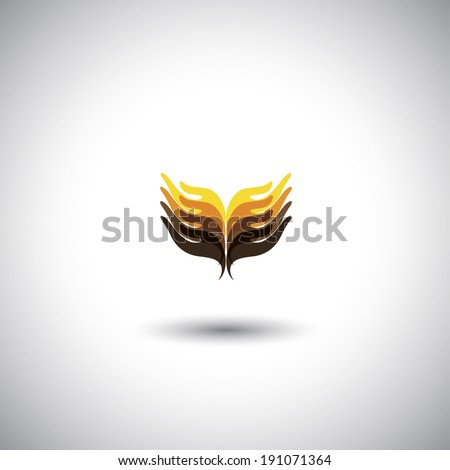 creative hand icons, people's hand above each other - unity concept vector. The graphic illustration also represents harmony, balance, togetherness, friendship, community, support, care, etc - stock vector
