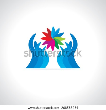creative hands care colorful abstract concept  - stock vector