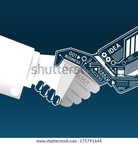 Creative handshake abstract circuit technology infographic.vector - stock vector