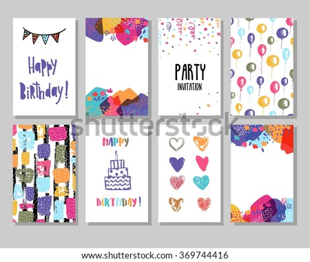 Creative Happy Birthday Cards Collection Hand Drawn Party Invitation