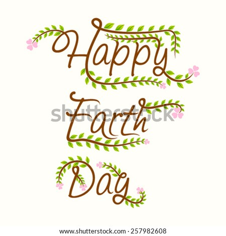 creative happy earth day design vector - stock vector
