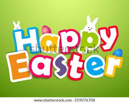 Creative Happy Easter Abstract with multi colour character in a green background.  - stock vector