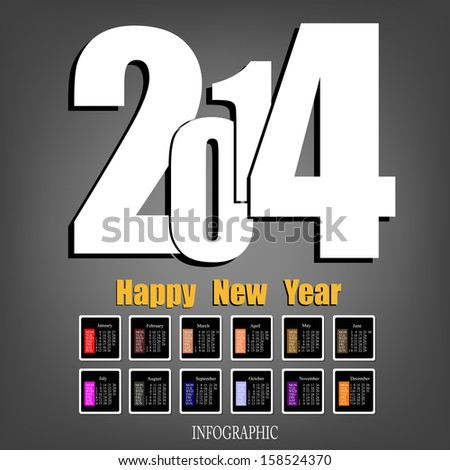 Creative Happy New Year 2014.Infographic Calendar Vector