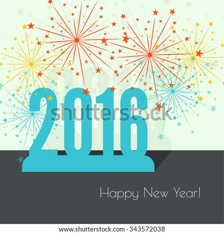creative happy new year 2016 with bursts of multicolored fireworks. Flat design with shadow. - stock vector