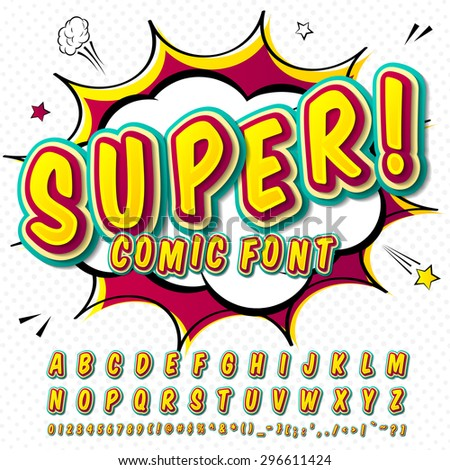 Creative high detail comic font. Alphabet in style of comics, pop art. Multilayer funny colorful 3d letters and figures for kids' illustrations, websites, comics, banners. Explosion, speech bubble. - stock vector