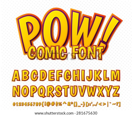 Creative high detail comic font. Alphabet in the style of comics and pop art. Multilayer funny colorful letters and figures for decoration of kids' illustrations, websites, posters, comics and banners - stock vector