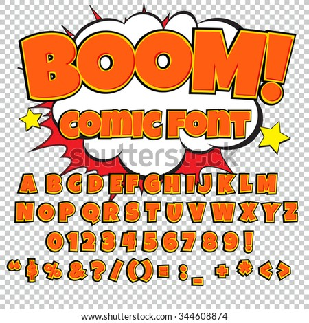 Creative high detail comic font. Alphabet in the style of comics, pop art. Letters and figures for decoration of kids' illustrations, websites, comics and banners. Easy to use for works. - stock vector