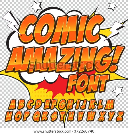 Creative high detail comic font. Alphabet in the style of comics, pop art. Letters and figures for decoration of kids' illustrations, comics and banners. Easy to use for works. - stock vector