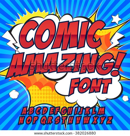 Creative high detail comic font. Alphabet in the style of comics, pop art. Letters and figures for decoration of kids' illustrations, websites, posters, comics and banners. - stock vector