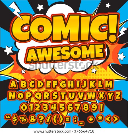 Creative high detail comic font. Alphabet in yellow color style of comics, pop art. Letters and figures for decoration of kids' illustrations, websites, comics and banners. Easy to use and edit.