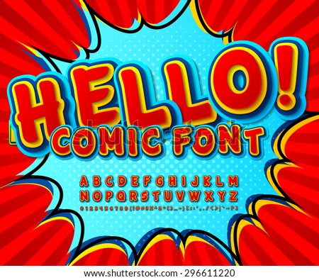 Creative high detail comic red font, explosion. Alphabet in style of comics, pop art. Multilayer funny colorful 3d letters and figures for decoration of kids' illustrations, websites, comics, banners - stock vector