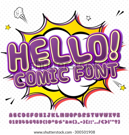 Creative high detail purple comic fontn. Alphabet in style of comics, pop art. Multilayer colorful 3d letters and figures for kids' illustrations, comics, banners. Explosion, speech bubble.