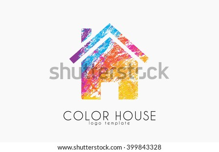 Creative house logo. Color house design. Home logo - stock vector