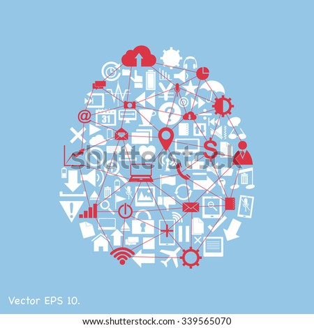 Creative human brain with Creative business icons, technology icons and strategy planning web icons Idea, Vector Illustration EPS 10. - stock vector