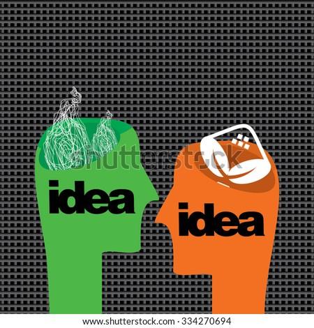 creative human head with bulb idea vector  - stock vector
