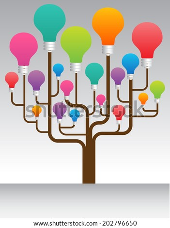 creative idea concept design with tree chart, Colorful bulbs, speech bubbles.