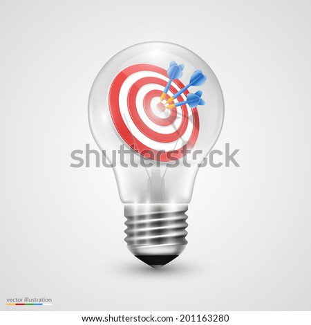 Creative idea darts in light bulb. Vector illustration - stock vector