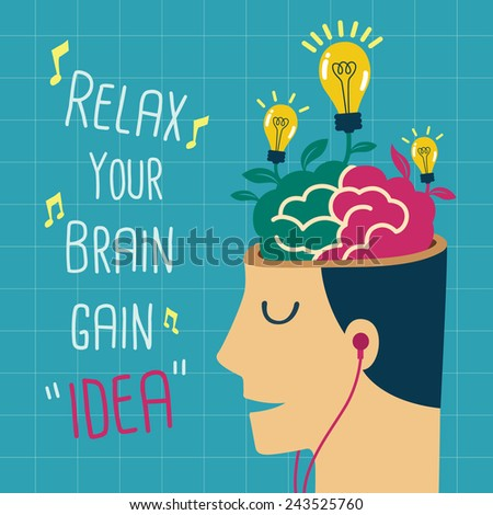 Creative idea growing from relax brain vector - stock vector