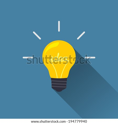 Creative idea in light bulb shape as inspiration concept. Vector design element. Flat icon. - stock vector