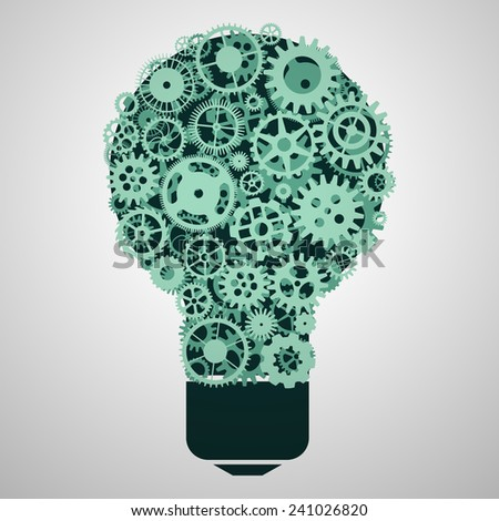 Creative idea vector illustration. Set of gears and electric light bulb lamp. - stock vector
